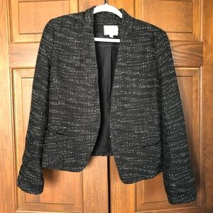 LOFT TWEED OPEN FRONT BLAZER JACKET BLACK WHITE 12